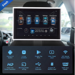 """9"""" Android Rear Seat Monitor USB Wi-Fi Miracast AirPlay"""